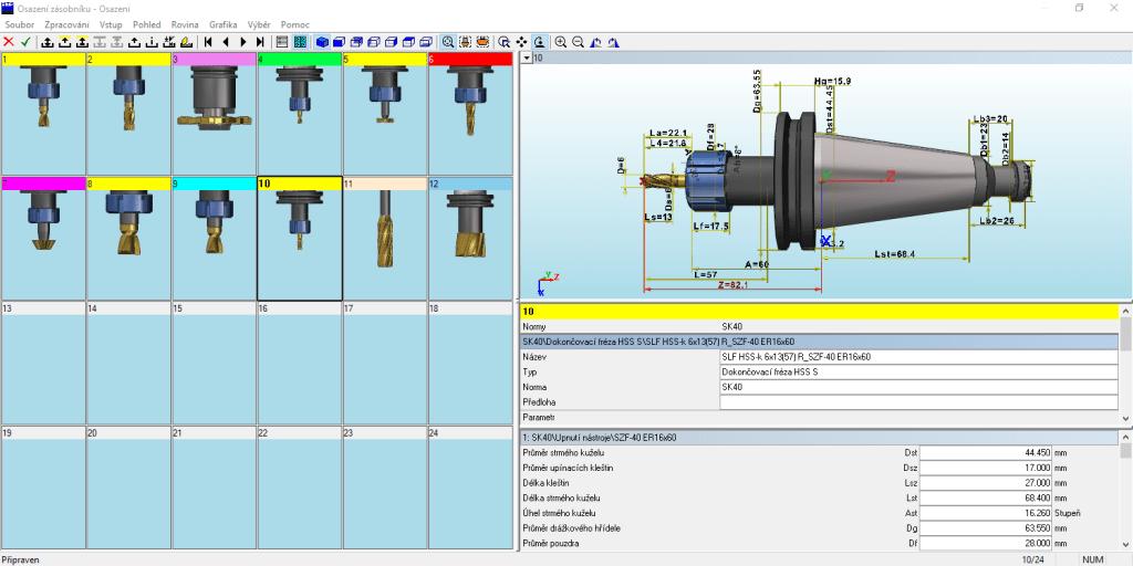 CNC simulátor TopMill Topturn - sazení zásobníku nástroji z katalogu