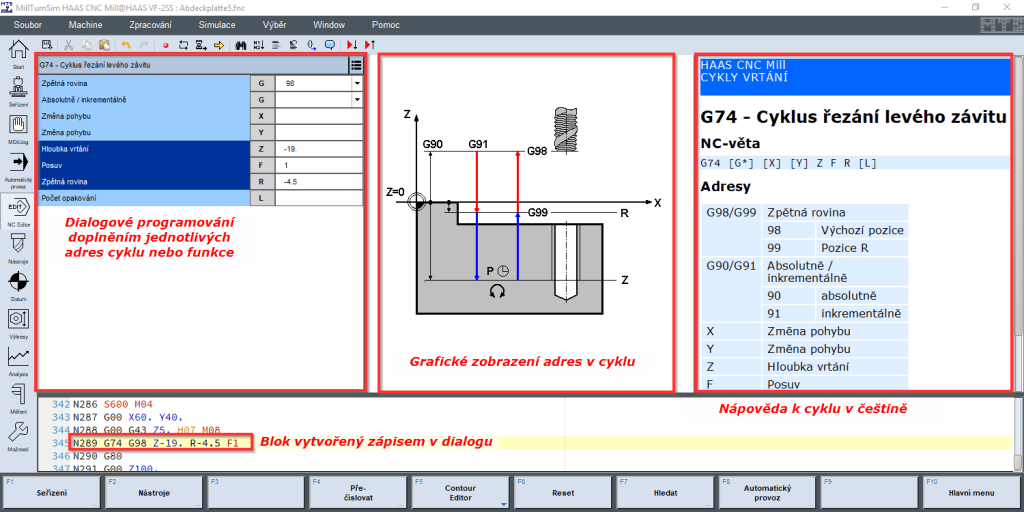 CNC simulátor TopTurn a TopMill, dialogové programování doplněním parametrů s českými popisky