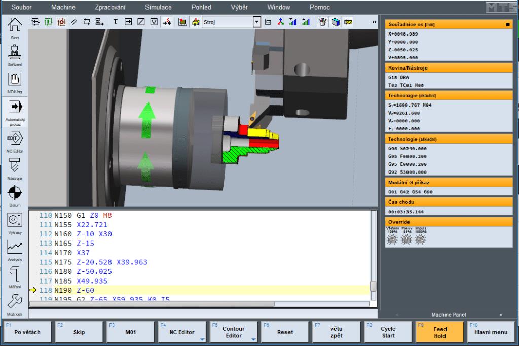 Simulátor MTS - Soustružení - zobrazení obrobku v řezu